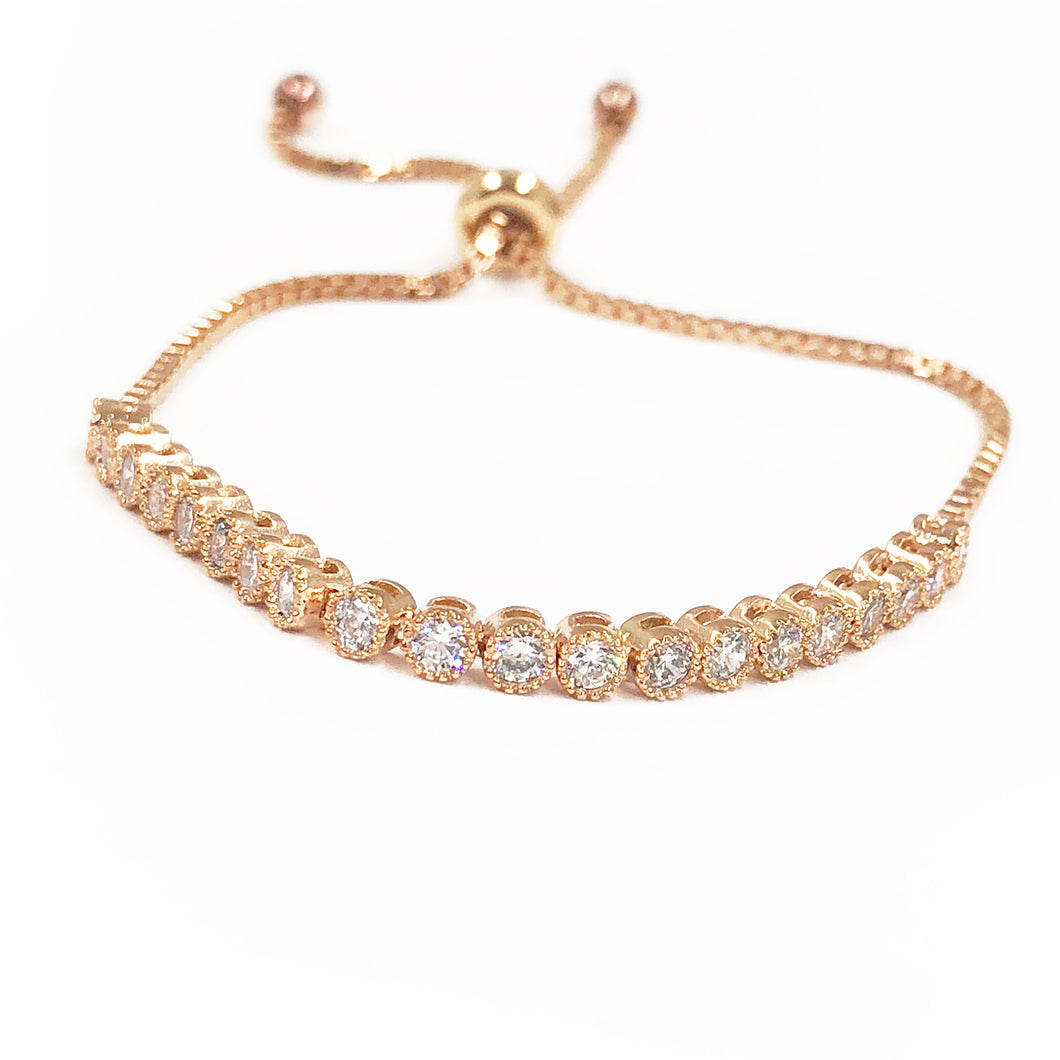Bezeled CZ toggle Bracelet