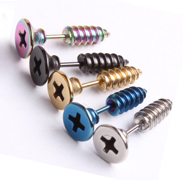 Stainless Steel Steampunk Screw Earrings