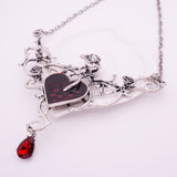 Gothic Rose Thorn Heart Necklace