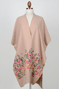Women Floral Embroidered Long Kimono Poncho Shawl Wrap Ruana Cardigan Cover Up