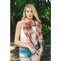 New Women Tribal Aztec Inspired Print Scarf  Wrap Lightweight Frayed Edge