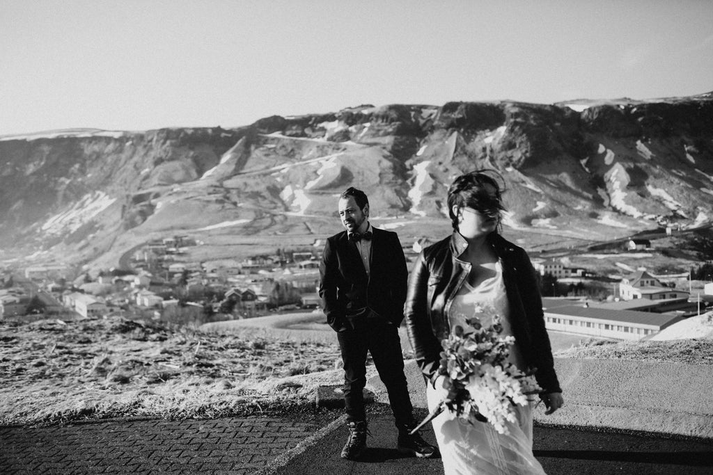A scenic elopement in Iceland featuring #TheJustMarriedJacket.