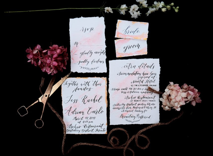 A beautiful wedding stationary set designed by Magnolia Calligraphy.