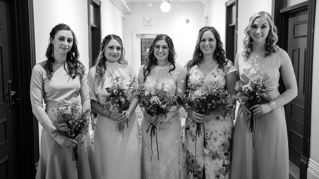 Black and white photo of a Toronto bride and her bridesmaids.