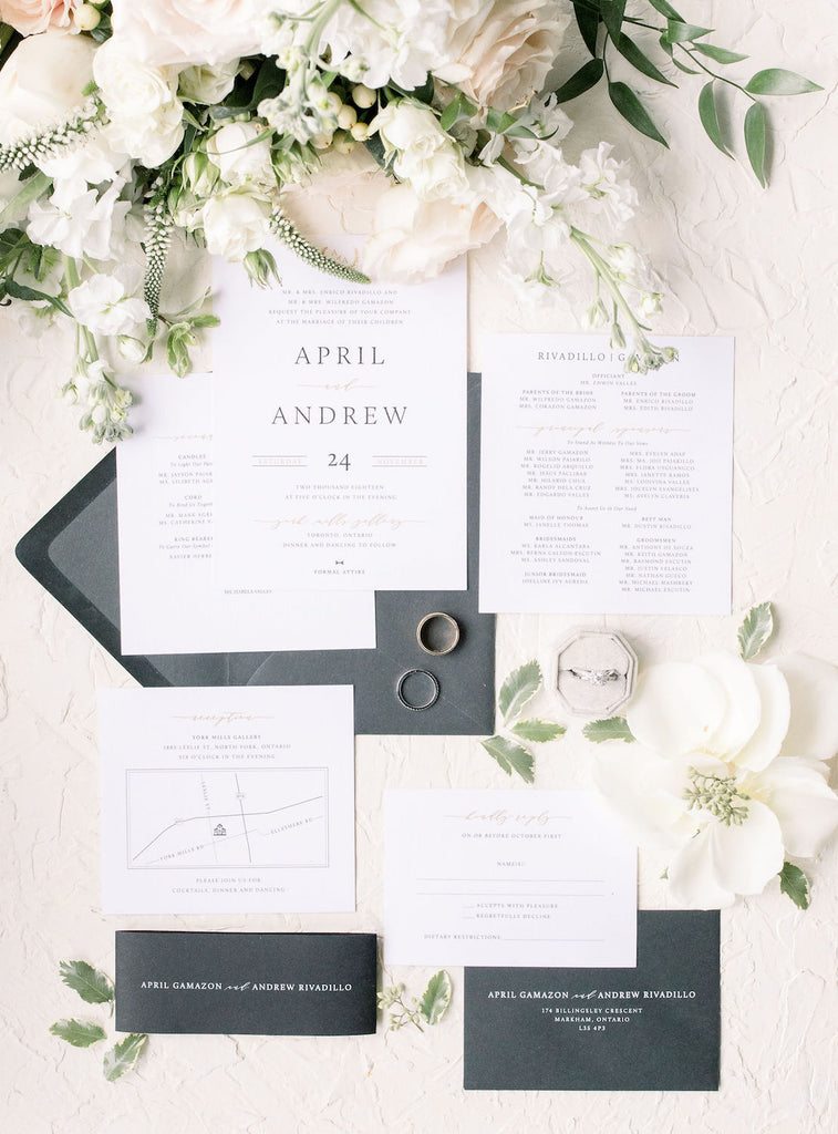 Romantic, modern wedding stationary.