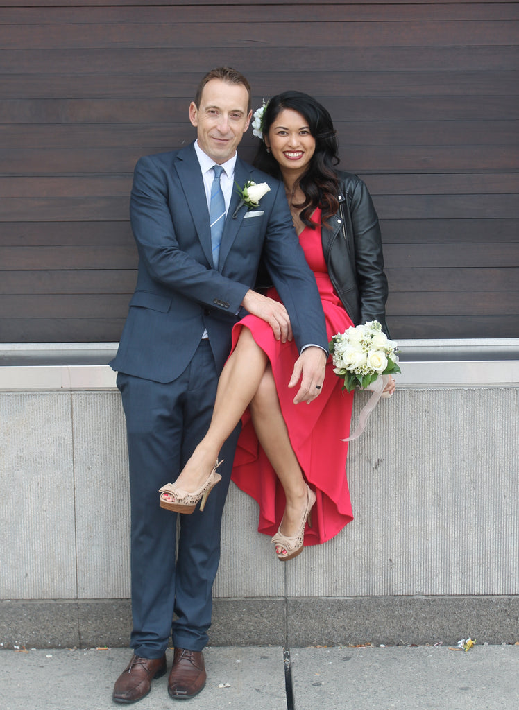 A newly married couple at Toronto City Hall.