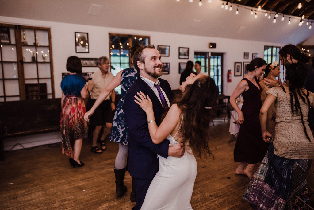 Toronto couple dancing at their boho wedding in Toronto.