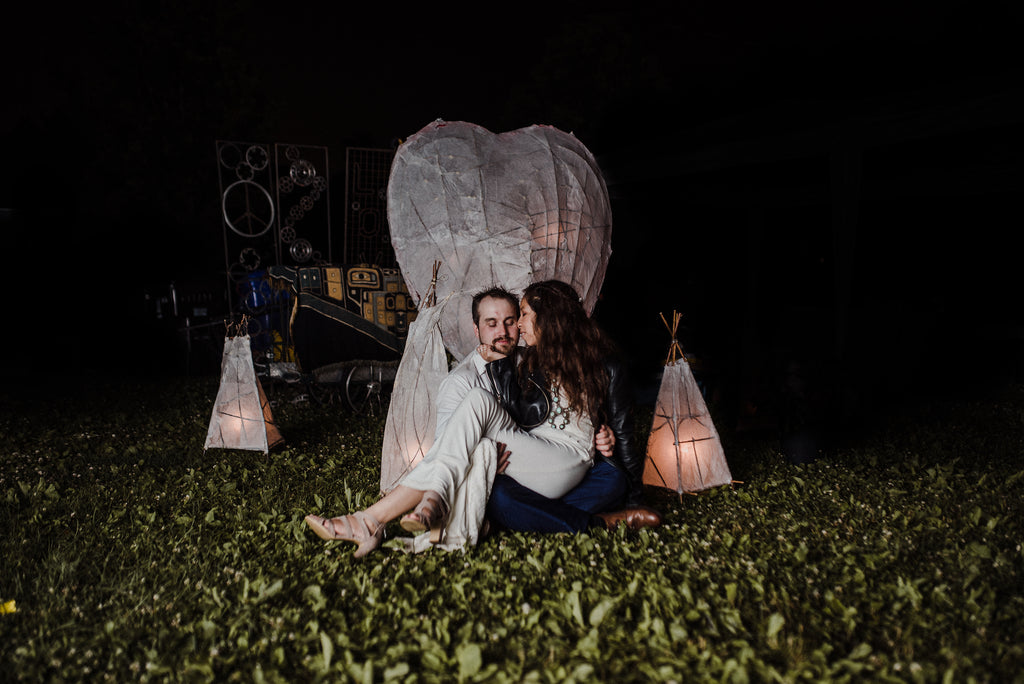 A Toronto couple kisses after their boho wedding comes to an end.