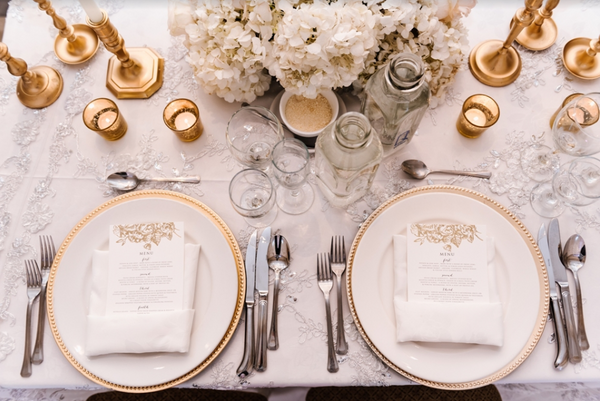 Stunning tableware at a glamorous Toronto wedding.