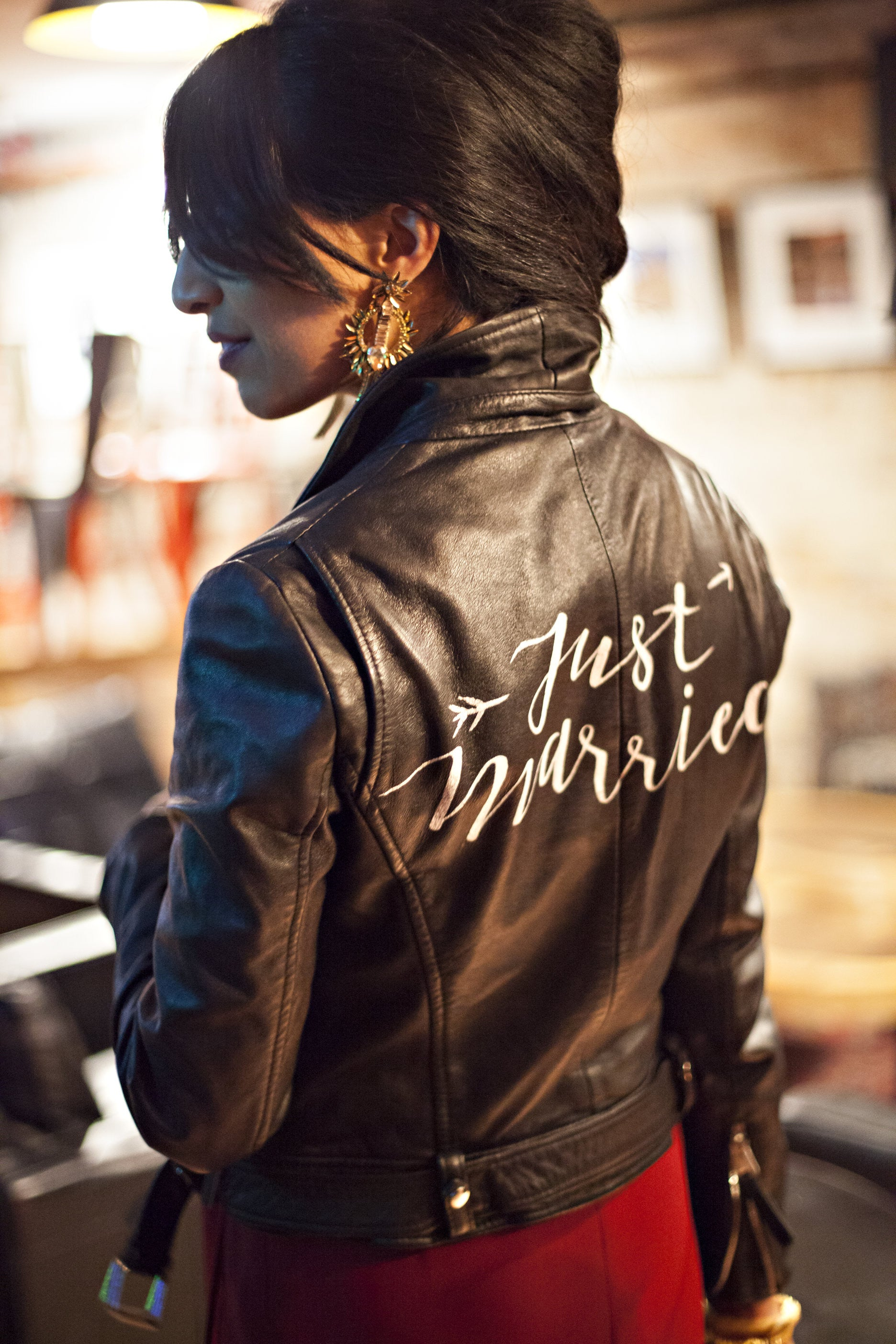 Dockflower Photography - The Just Married Leather Jacket