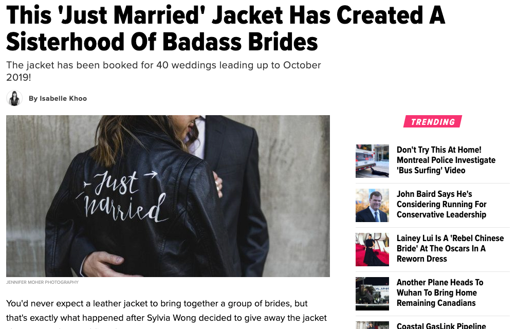 #TheJustMarriedJacket featured in the Huffington Post.