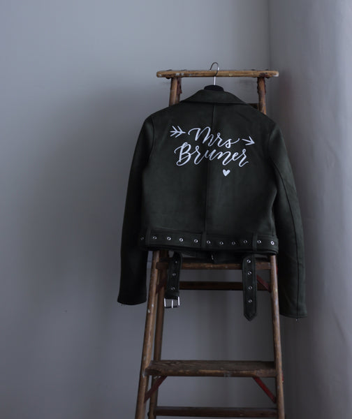 Custom Mrs. Wedding Leather Jacket