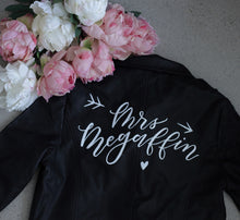 Load image into Gallery viewer, Custom Mrs. Wedding Leather Jacket