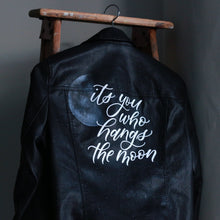 Load image into Gallery viewer, Via Calligraphy - custom calligraphy hand painted leather jacket