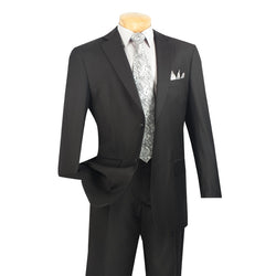 MEN'S BUSINESS CLASSIC FIT SUITS MENS FORMAL WEAR 2 BUTTONS DESIGN SOLID COLOR BLACK