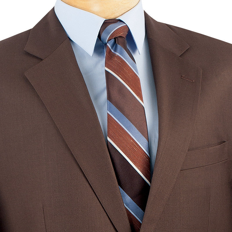 MEN'S FORMAL WEAR VINCI MEN'S CLASSIC FIT SUITS 2 BUTTONS DESIGN SOLID COLOR BROWN