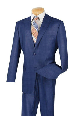 Pompey Collection - Men's Glen Plaid Dress Suit 2 Piece Regular Fit in Blue - SUITS FOR MENS
