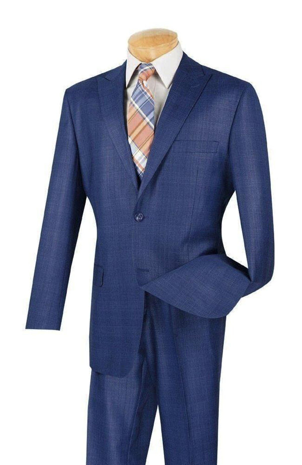 NICE BLUE MEN'S DRESS SUITS GLEN PLAID SUITS CLASSIC FIT MEN'S SUITS NEW