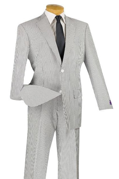 Regular Fit Summer 2 Piece Suit Striped Seersucker in Black - SUITS FOR MENS