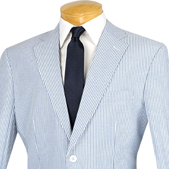 NAVY SUMMER SUITS CLASSIC FIT STRIPED SEERSUCKER NEW