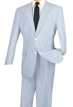 Regular Fit Summer 2 Piece Suit Striped Seersucker in Navy - SUITS FOR MENS