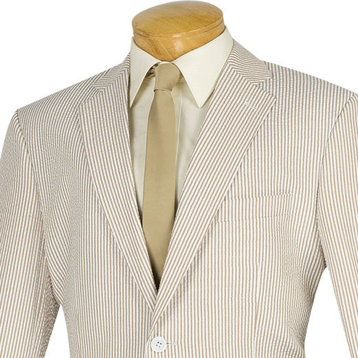 TAN COLOR MENS CLOTHING SPRING SUITS CLASSIC FIT STRIPED SEERSUCKER