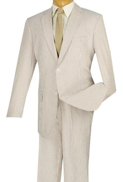 Regular Fit Summer 2 Piece Suit Striped Seersucker in Tan - SUITS FOR MENS