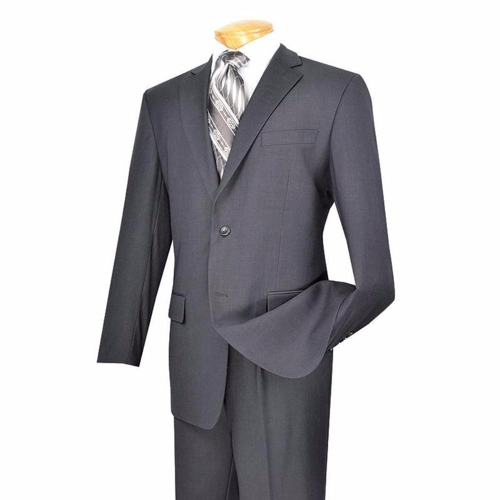 MEN'S CLASSIC FIT SUITS CLASSIC FIT SUITS 2 BUTTONS DESIGN PURE SOLID GRAY NEW