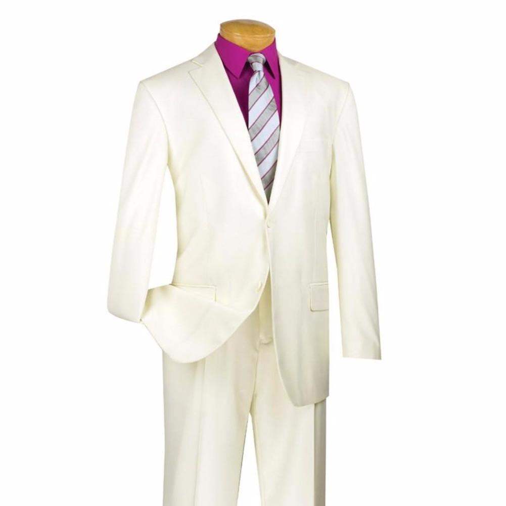 MEN'S CLASSIC FIT BUSINESS SUITS 2 BUTTONS DESIGN PURE SOLID IVORY NEW