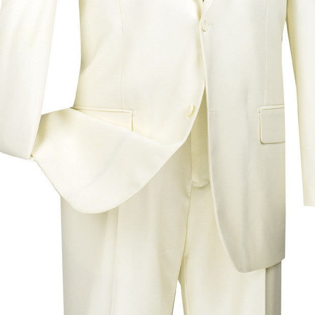 Bacchus Collection - Regular Fit Suit 2 Button 2 Piece in Ivory - SUITS FOR MENS