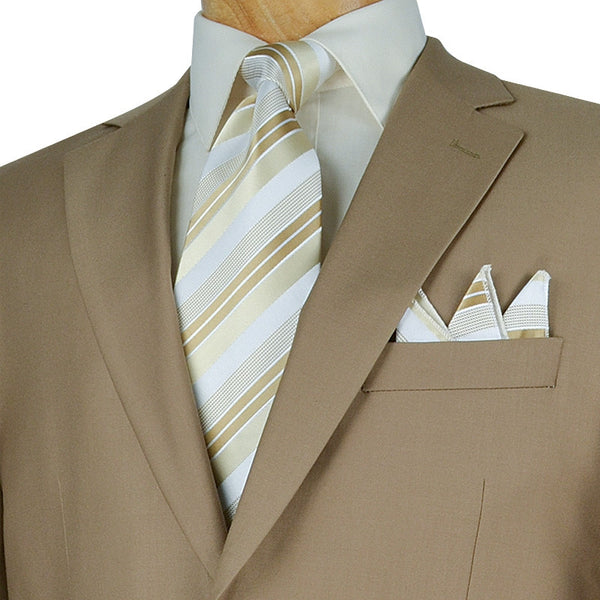 Bacchus Collection - Regular Fit Suit 2 Button 2 Piece in Khaki - SUITS FOR MENS