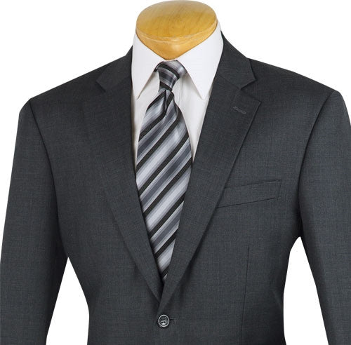 Venetian Collection - Wool Suit Regular Fit 2 Buttons 2 Piece in Charcoal - SUITS FOR MENS