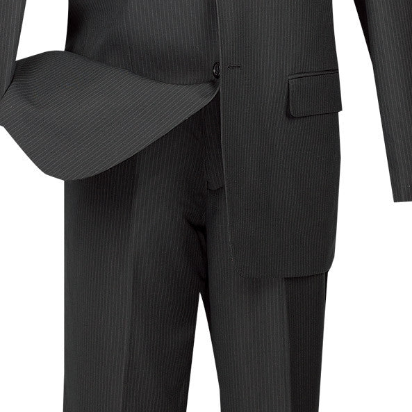 Regular Fit Men's Pinstripe 2 Piece Suit 2 Buttons in Black - SUITS FOR MENS