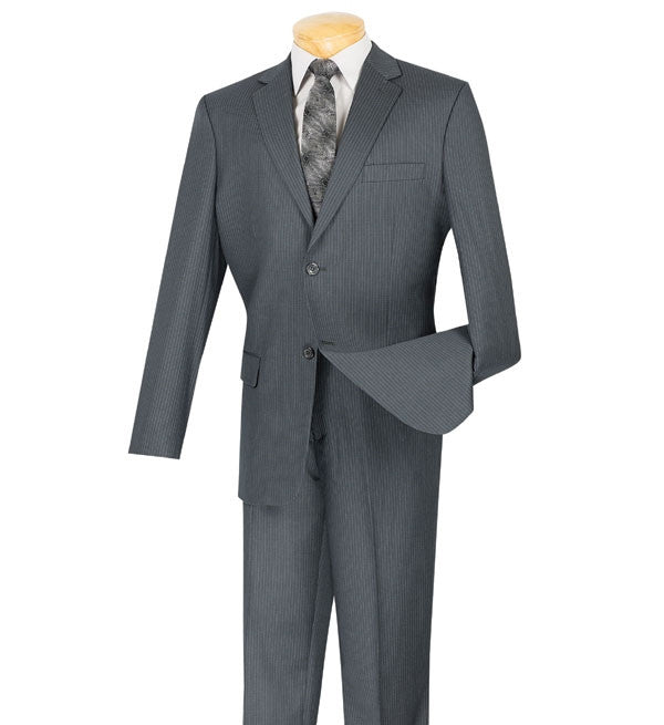 Regular Fit Men's Pinstripe 2 Piece Suit 2 Buttons in Gray - SUITS FOR MENS