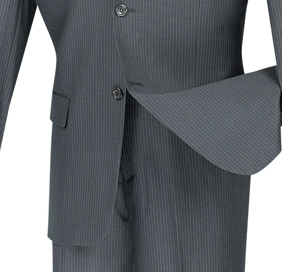 WOOL BLEND CLASSIC FIT MEN'S SUITS 2 BUTTONS DESIGN PINSTRIPE GRAY