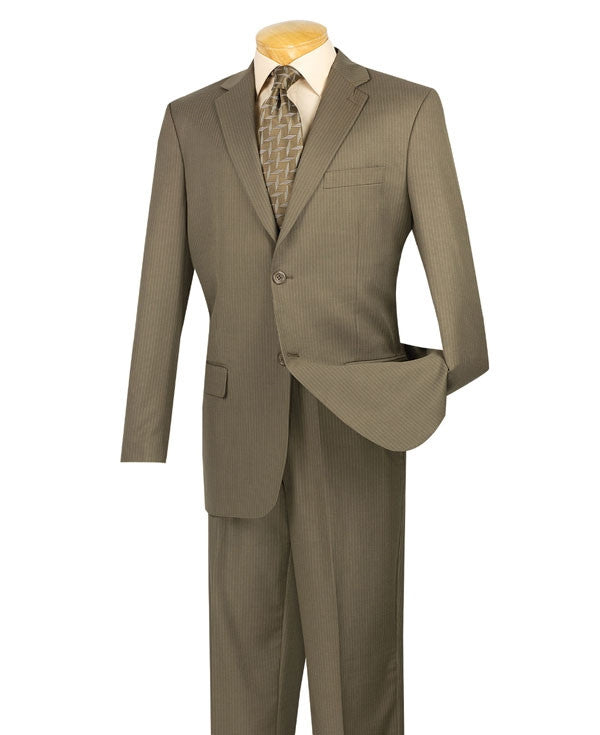 WOOL BLEND CLASSIC FIT MEN'S TAUPE SUITS 2 BUTTONS DESIGN PINSTRIPE SUITS