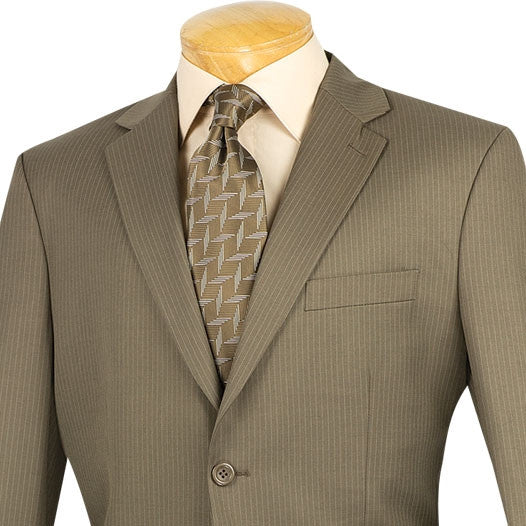 Regular Fit Men's Pinstripe 2 Piece Suit 2 Buttons in Taupe - SUITS FOR MENS