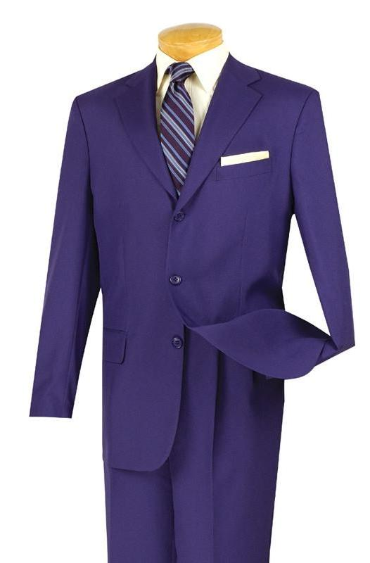 Mont Blanc Collection - Regular Fit Suit 3 Button 2 Piece in Purple - SUITS FOR MENS