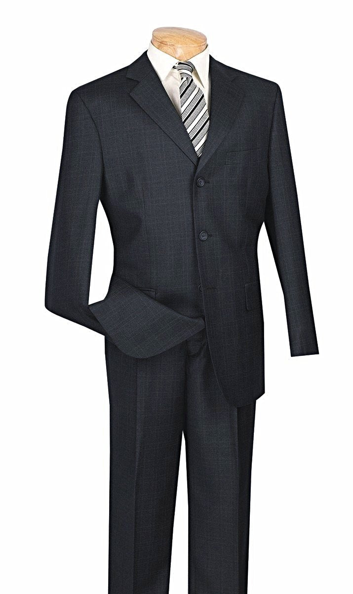 MEN'S BUSINESS SUITS CLASSIC FIT SUITS 3 BUTTONS DESIGN WINDOW PANE BLACK COLOR NEW
