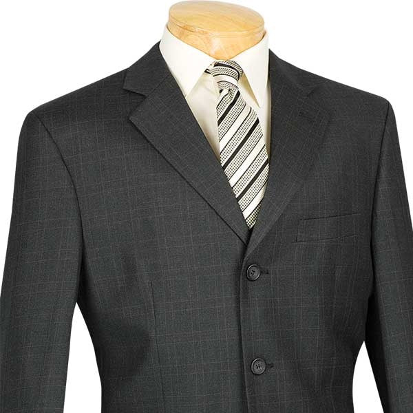 Men's Regular Fit Windowpane Suit 2 Piece 3 Button in Black - SUITS FOR MENS