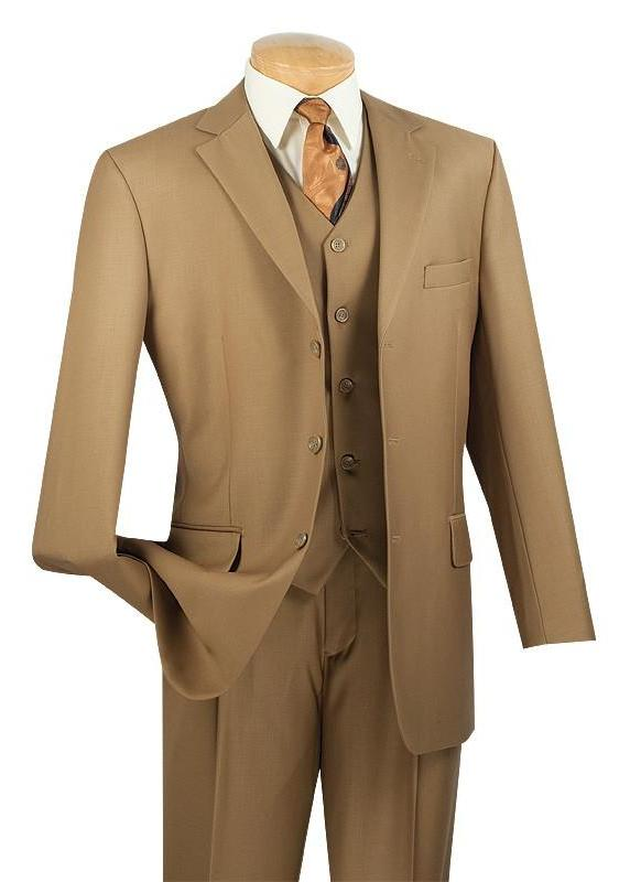 Avalon Collection - Regular Fit Men's Suit 3 Button 3 Piece British Khaki - SUITS FOR MENS