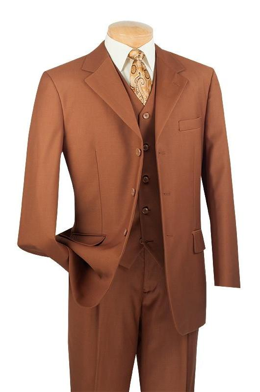 Avalon Collection - Regular Fit Men's Suit with Vest Cognac 3 Pieces - SUITS FOR MENS