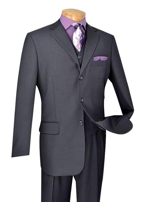 CLASSIC FIT MEN'S SUITS WITH VEST 3 PIECE 3 BUTTONS PURE SOLID HEATHER GRAY NEW