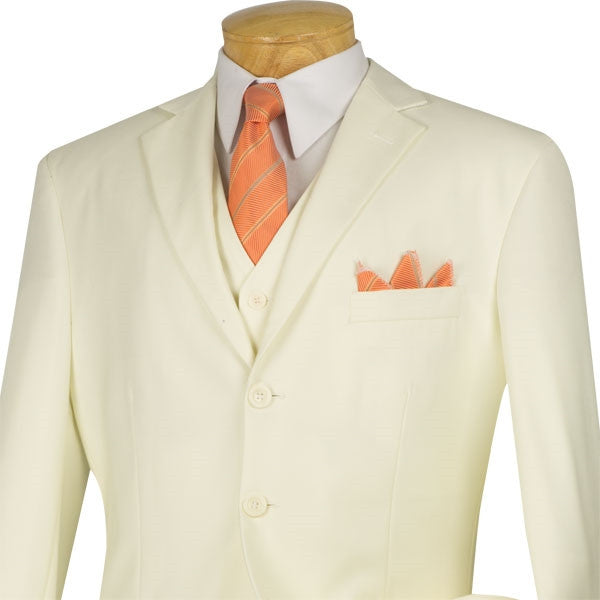 Avalon Collection - Regular Fit Men's Suit 3 Button 3 Piece Ivory - SUITS FOR MENS