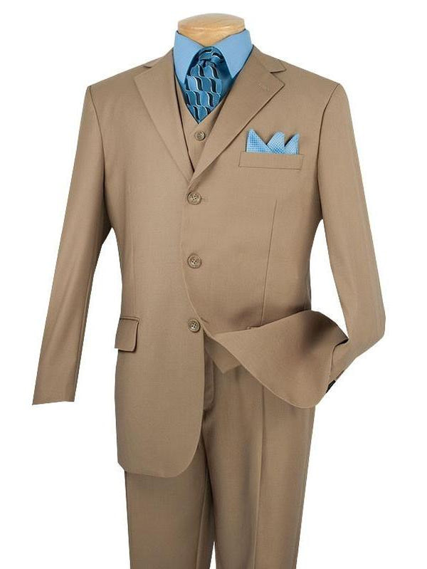Avalon Collection - Regular Fit Men's Suit 3 Button 3 Piece Khaki - SUITS FOR MENS