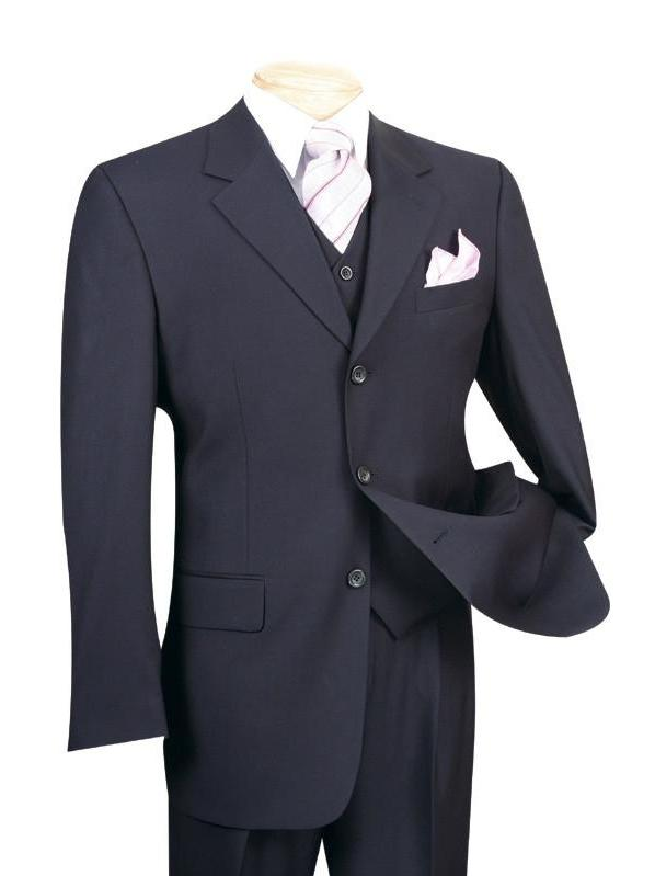 VINCI CLASSIC MEN'S SUITS WITH VEST 3 PIECE 3 BUTTONS PURE SOLID NAVY NEW