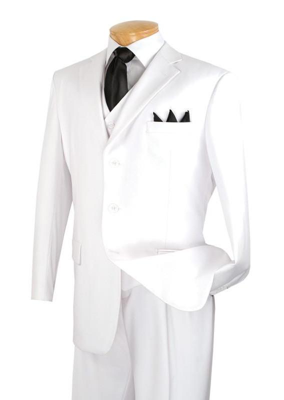 Avalon Collection - Regular Fit Men's Suit 3 Button 3 Piece White - SUITS FOR MENS