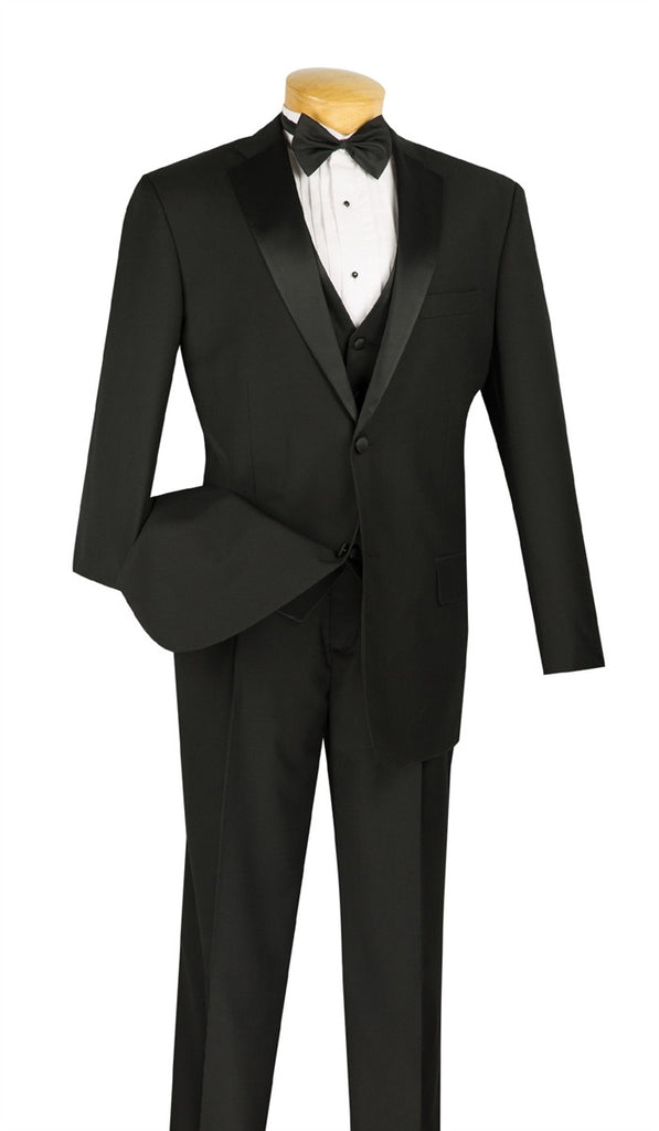 NEW! CLASSIC FIT BLACK TUXEDO VEST BOW TIE SINGLE PLEATED PANTS