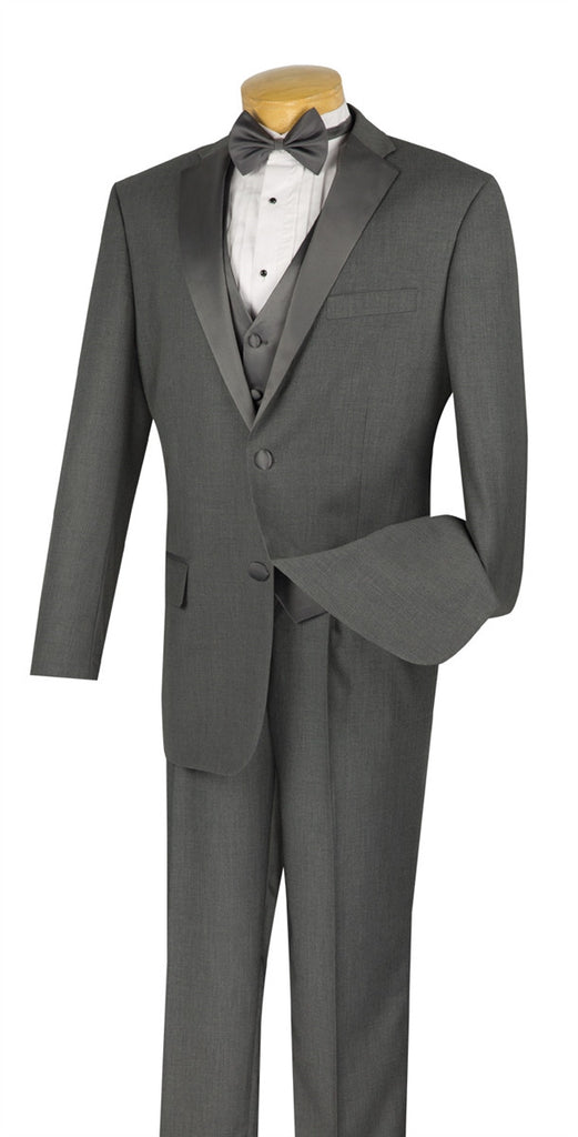 NEW! CLASSIC FIT GRAY TUXEDO VEST BOW TIE SINGLE PLEATED PANTS