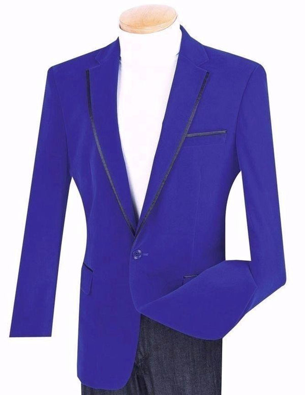 Men's Jacket Royal Blue Sport Coat Classic Fit Velvet - SUITS FOR MENS